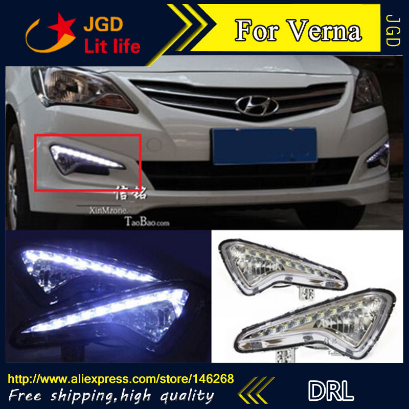 Hot sale ! 12V 6000k LED DRL Daytime running light for Hyundai Verna 2014 Fog lamp frame Fog light Super White