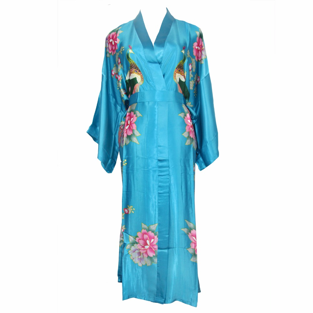 Chinese Vintage Rayon kimono Summer Robe Women Bath Gown Loose Sleepwear Sexy Satin Print Flower Nightwear One Size