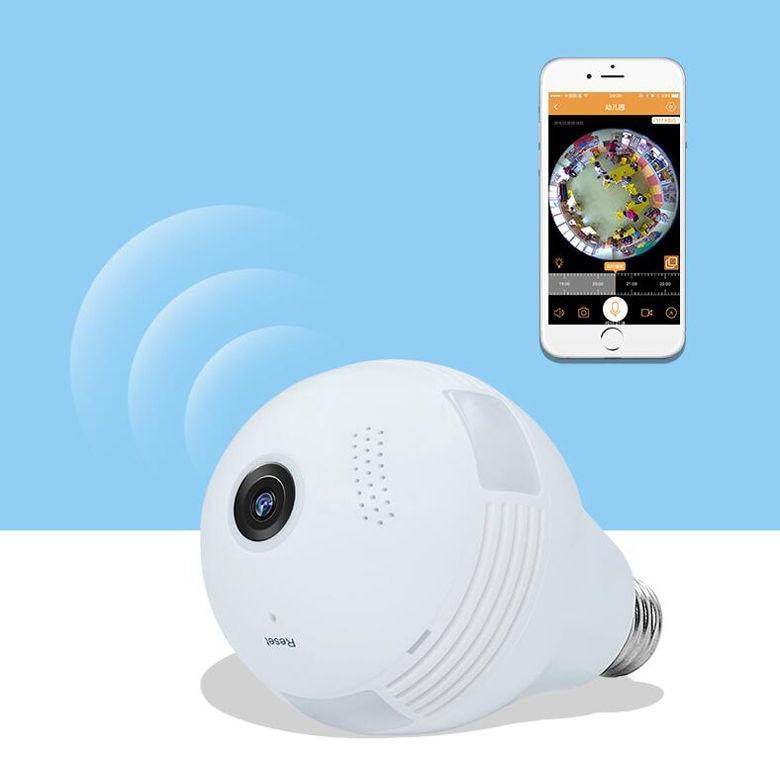 LED inalámbrico 960P 360 cámara domo Wi fi FishEye Mini CCTV VR Cámara bombilla - 6