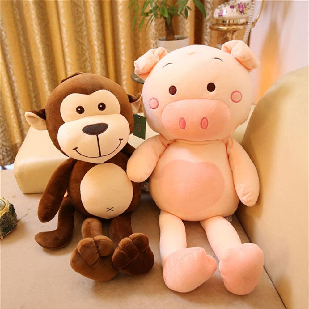 Fancytrader câlin animaux cochon singe en peluche jouet grand doux en peluche Anime cochon poupée décoration 75 cm beaux cadeaux pour les enfants