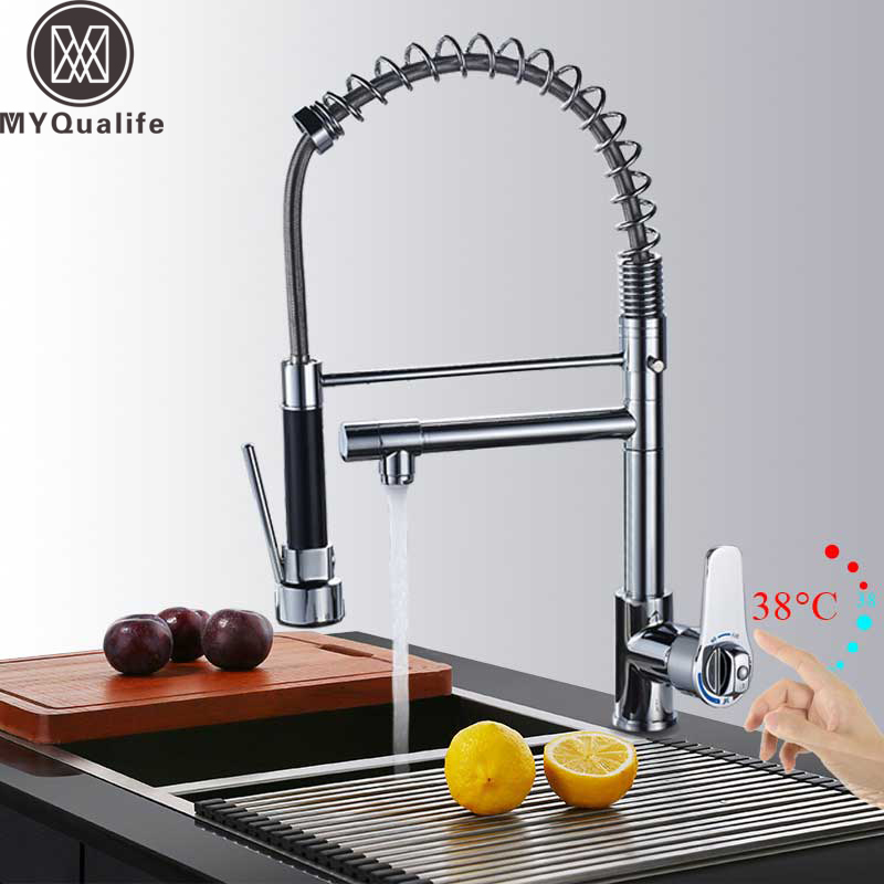 Chrome Dual Swivel Spout Kitchen Sink Faucet Thermostatic Pull Down Hot and Cold Spring Kitchen Mixer Cranes Deck Mounted chrome spring pull down kitchen mixer faucet deck mount 360 rotation side spout dual spryaer kitchen hot and cold taps