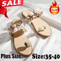 2019 Hot Summer Flat Heel Women Ladies Sandals Toe Ring Bohemia Sandals With Ananas Flat Shoe Outdoor Holiday Slides 35-40