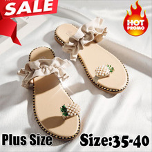 цена на 2019 Hot Summer Flat Heel Women Ladies Sandals Toe Ring Bohemia Sandals With Ananas Flat Shoe Outdoor Holiday Slides 35-40
