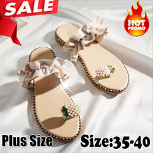 2019 Hot Summer Flat Heel Women Ladies Sandals Toe Ring Bohemia Sandals With Ananas Flat Shoe Outdoor Holiday Slides 35-40(China)