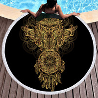Gold Print Mascot Turtle Ganesh Snake Elephant Moon Dreamcatcher Net Lion Printed Microfiber Beach Towel 150cm Round Towels