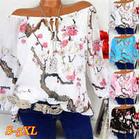 Large size ladies Blouse 2019 spring and summer new word collar collar lantern sleeve shirt loose casual double chiffon blouse
