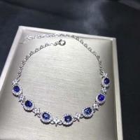 natural blue sapphire gem Bracelet Natural gemstone bracelet S925 silver Elegant Lovely round Clover women party gift jewelry