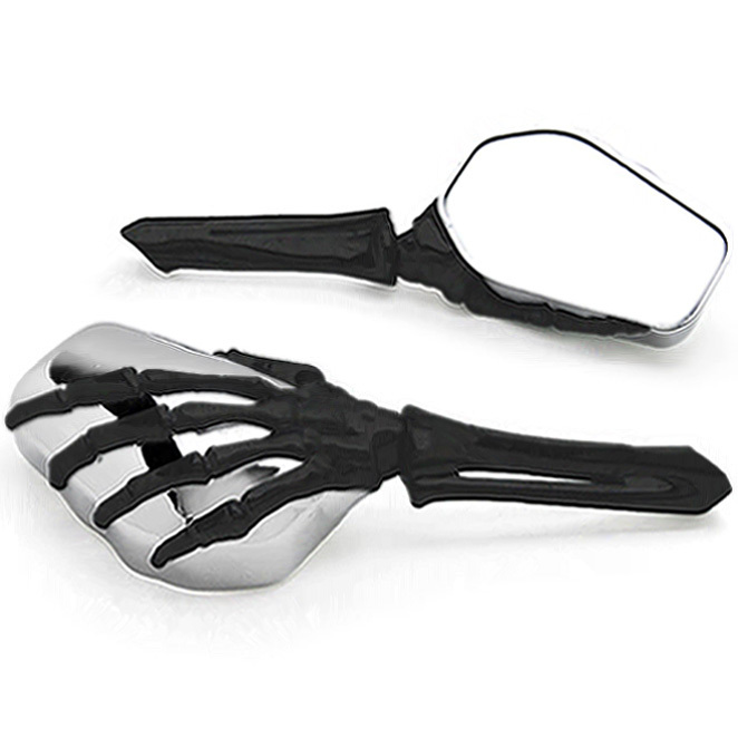 Free Shipping Black/Chrome Skeleton Hand Motorcycle Mirrors For <font><b>Honda</b></font> Gold Wing Goldwing <font><b>GL</b></font> <font><b>500</b></font> 650 1000 1100 image