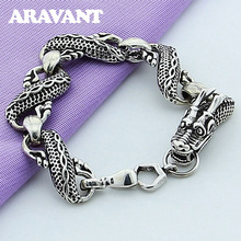 925 Sterling Silver Bracelets Black Dragon For Men Fashion Punk Rock Style Jewelry Gifts
