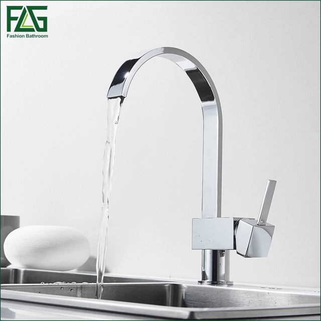 FLG Sliver Kitchen Faucet Chrome 360 Waterfall Kitchen Sink Tap Single  Handle Cold Hot Deck Mounted