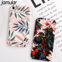 JAMULAR Artistic Leaf Phone Case For iPhone X 8 7 6 Plus Frosted Hard Phone Bags For iPhone 7 6 6S leaves Back Cover Funda Shell