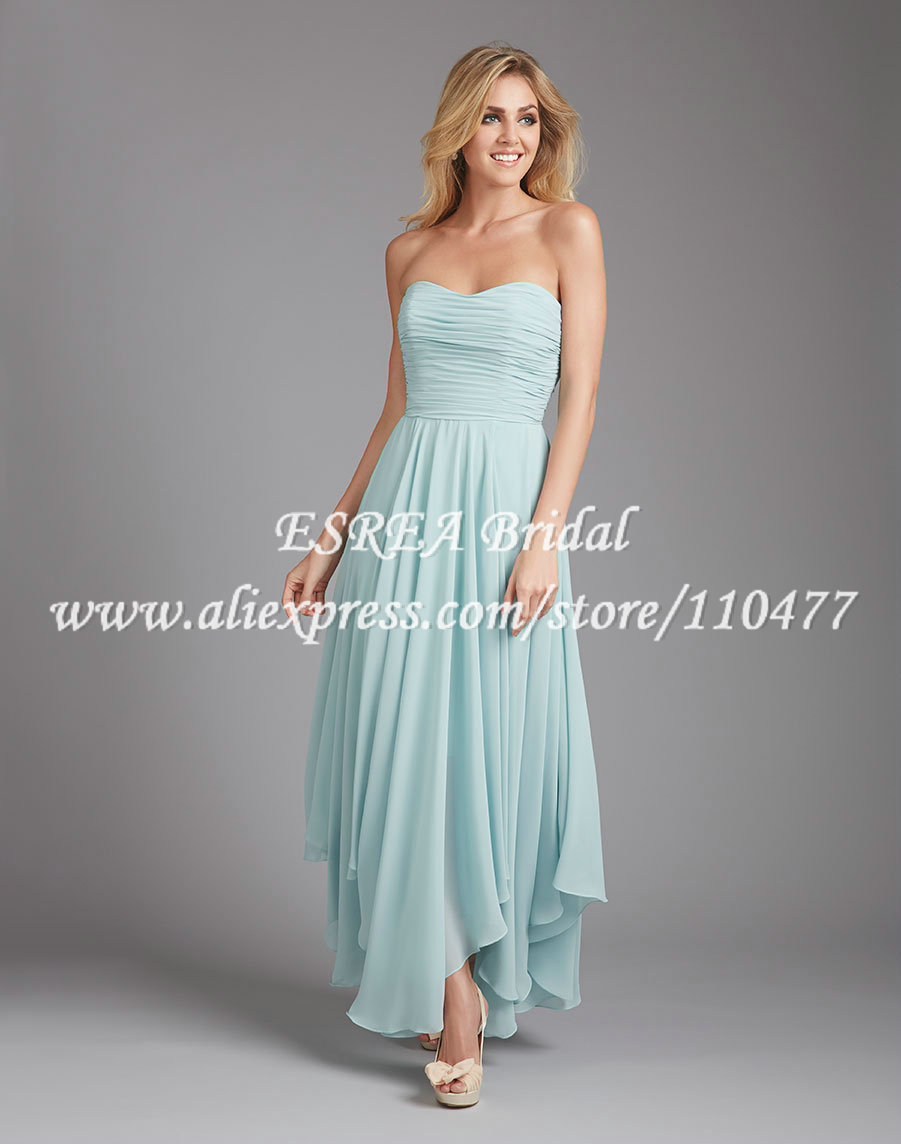 Semi Formal Scoop Long Mint Green Bridesmaid Dress Chiffon Pleated For Beach Weddings Low Back MG806 Free Shipping In Dresses From