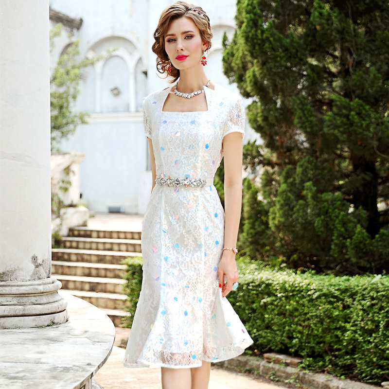 Office Lady Mermaid dress Spring 2019 new Women Occupation Chiffon print Sequins Party Dress Plus Size