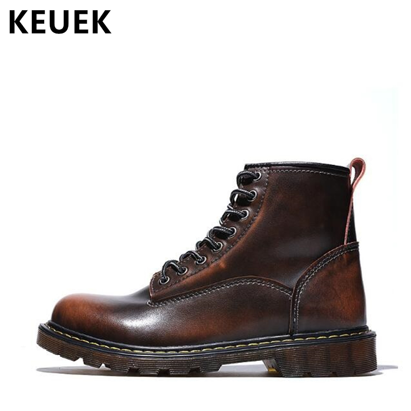 Autumn Winter Men Martin boots Genuine leather Motorcycle boots Luxury Vintage Male shoes Lace-Up Outdoor Ankle boots 02A 2016 new martin male autumn and winter genuine leather platform medium leg mens equestrian vintage motorcycle boots