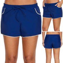 f1ae1b12a0 Women Summer Plus Size Stretch Board Shorts White Lace Trim Hem Tankini  Bottoms Drawstring Waistband Swim