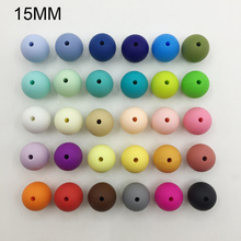 NEW! 15MM Round bead 100PCS/lot Silicone Teething Necklace beads 30 colors Food Grade Silicone loose bead for baby chew BPA free