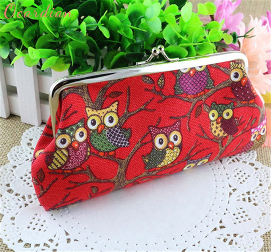 OCARDIAN New Fashion Owl color printing women coin purse,lady change purse,Patent Leather coin wallet,Female money bag wallet#30