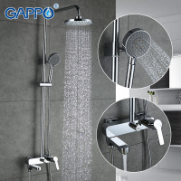 GAPPO 1SET Bathroom Bath Shower Faucet Set With Slide Bar In 180mm Round Rainfall Shower Head