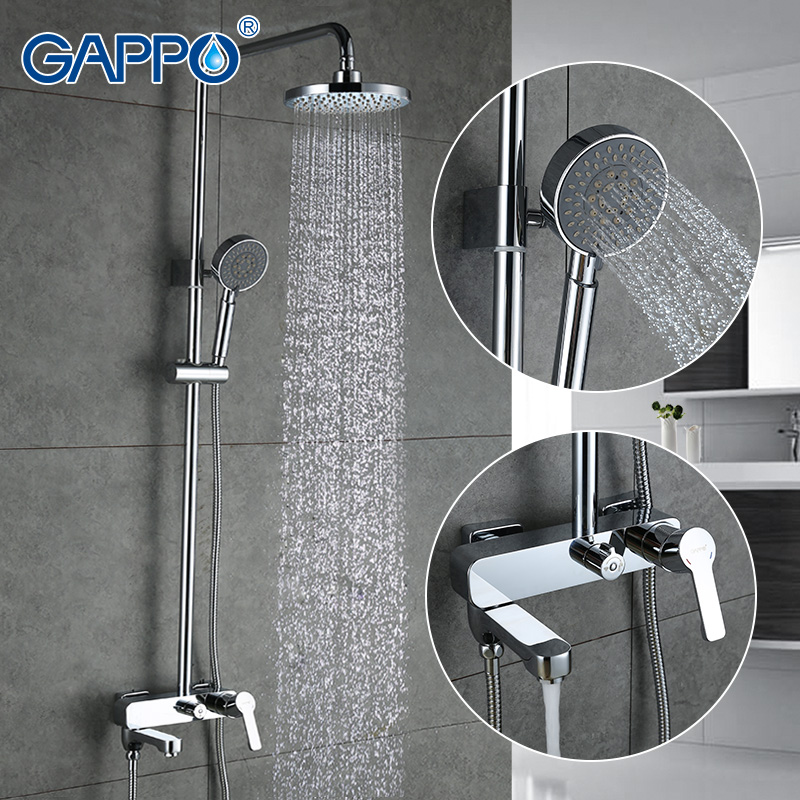 GAPPO 1SET Bathroom Bath Shower Faucet Set With Slide Bar In 180mm Round Rainfall Shower Head