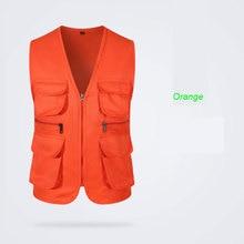 Мужской уличный жилет с тремя карманами для мужчин, рекламный волонтерский комбинезон с v-образным вырезом, жилет на молнии