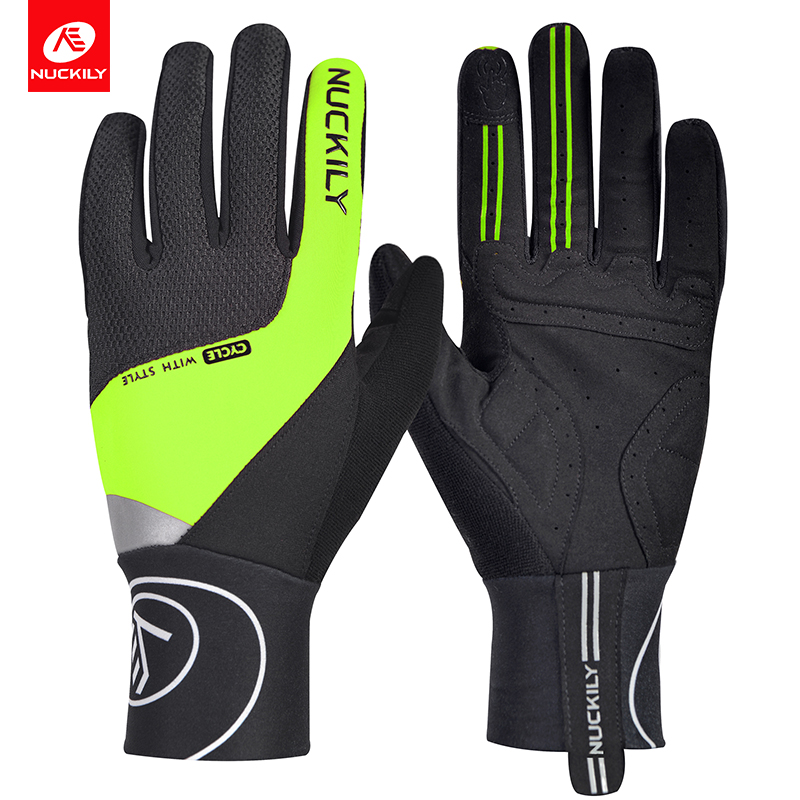 NUCKILY Winter Unisex Riding Shockproof Long Finger Gloves Screen Touch Cycling Gloves Outdoor Sport Bicycle Gloves in Cycling Gloves from Sports Entertainment