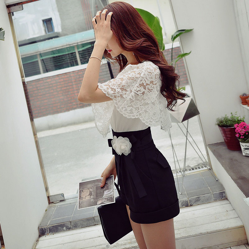 Original 2017 Brand Rompers Summer High Waist Elegant Casual Flower Black and White Jumpsuits Women