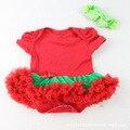 Mamelucos Del Bebé de la manera vestido de los bebés de Algodón de Encaje rojo Ropa de Recién Nacido Del Bebé DEL TUTÚ viste Ropa Bebes Mono