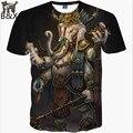 2016 novos homens / mulheres 3d T - Shirt engraçado impressão religião deus elefante Geneisha Ganesh camiseta verão Tops Tees