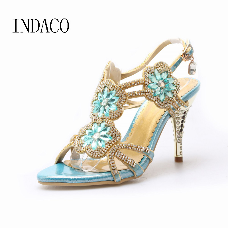 2017 Blue Gold Rhinestone Sandal Woman Shoes Ankle Strap Womens High Heel Sandals Sandalias Mujer Sapatos De Noiva lttl bohemia print floral chunky heel sandalias female blue red prom wedding shoes woman ankle strap sequins rhinestone sandals