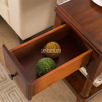 Rectangle Side Table   TS-980 Living Room MDF Solid Leg Wood Coffee Table End Table Creative Rubber Wood Side Table Small End Table With 1-Drawer