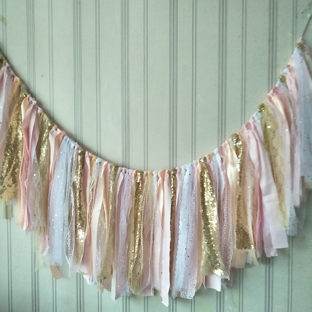 Free shipping bling bling rag tied fabric garlands birthday shooting props pink and gold