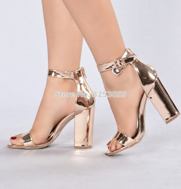 bde9d44447030 Fashionable Ladies Rose Gold Chunky Heel Sandals Ankle Strap Thick Heel  Shoes Single Strap Concise Nightclub Pumps Luxury Brand