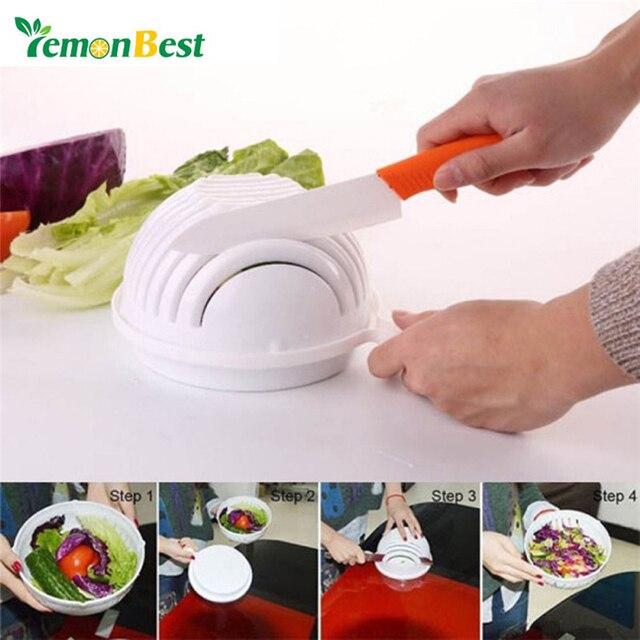 60 Seconds Salad Cutter Bowl Wave Shape Easy Maker Kitchen Tools Fruit Vegetable Chopper