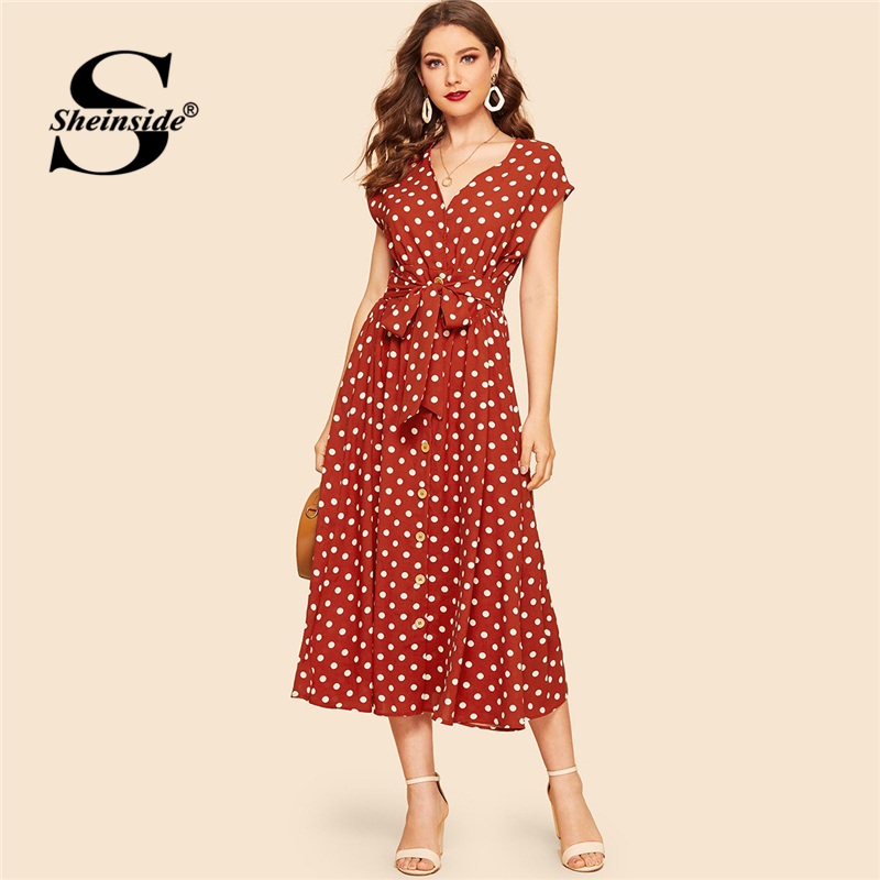 5a24b034bc1fb Sheinside Rust V Neck Self Tie Polka Dot Shirt Dress 2019 Women Vintage  Summer Dresses Cap Sleeve Button Details Midi Dress