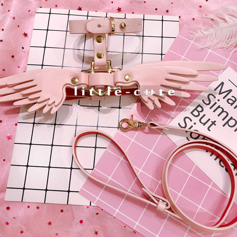 Teddy Bears Angel Network Red traction rope skin pink strap Marges Cat item ring external use pet collar wings cat leash harness