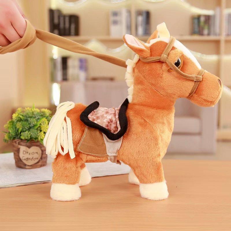 30 cm caballo eléctrico de peluche de juguete puede caminar y cantar maquinaria Pony caballo electrónico muñeca niños cumpleaños regalo