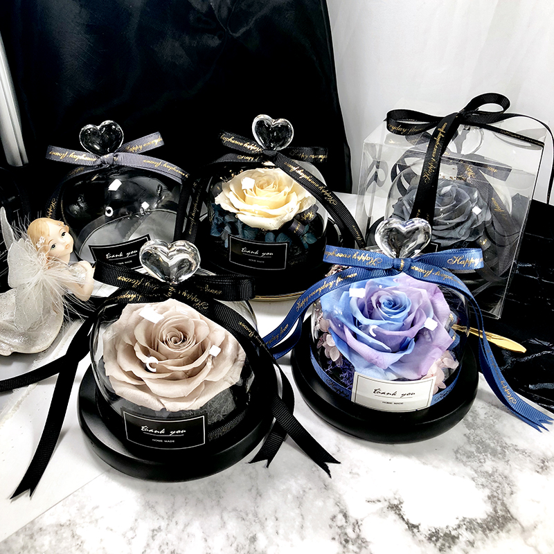 Eterno exclusivo rosa em cúpula de vidro a beleza e besta rosa romântico presentes do dia dos namorados presentes de natal