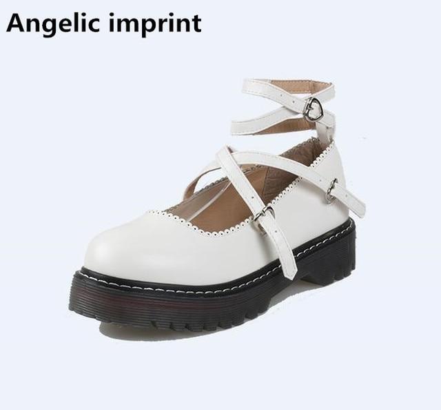 Angelic imprint mori girl lolita shoes woman cosplay shoes lady low heels Pumps platform women princess single shoes 35-40 black