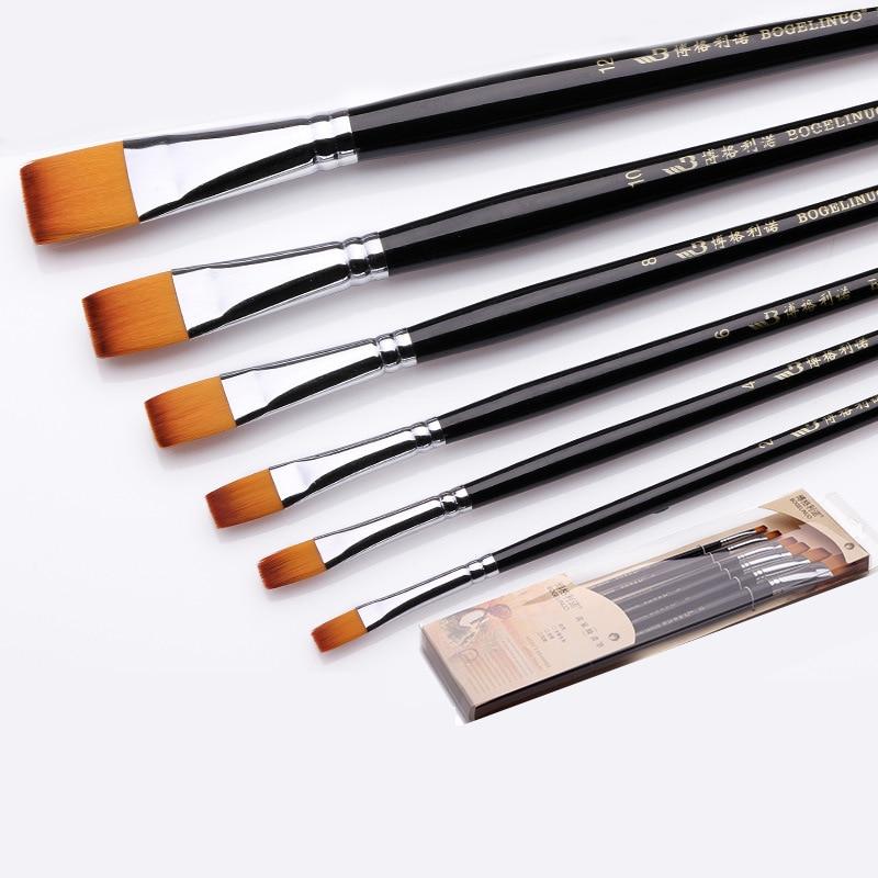 Bgln 6pcs/Set Nylon Hair Oil Paintbrush Flat Paint Brushes For Artist Oil Acrylic Painting Stationery Art Supplies Pinceles oleo
