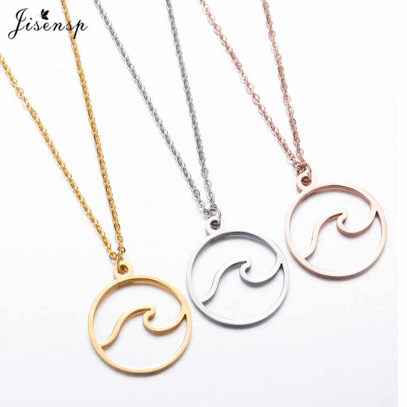 Jisensp Stainless Steel Wave Necklace Pendants Long Chain Beach Nautical Surfing Necklace Jewelry Tropical Wedding Jewelry Gift