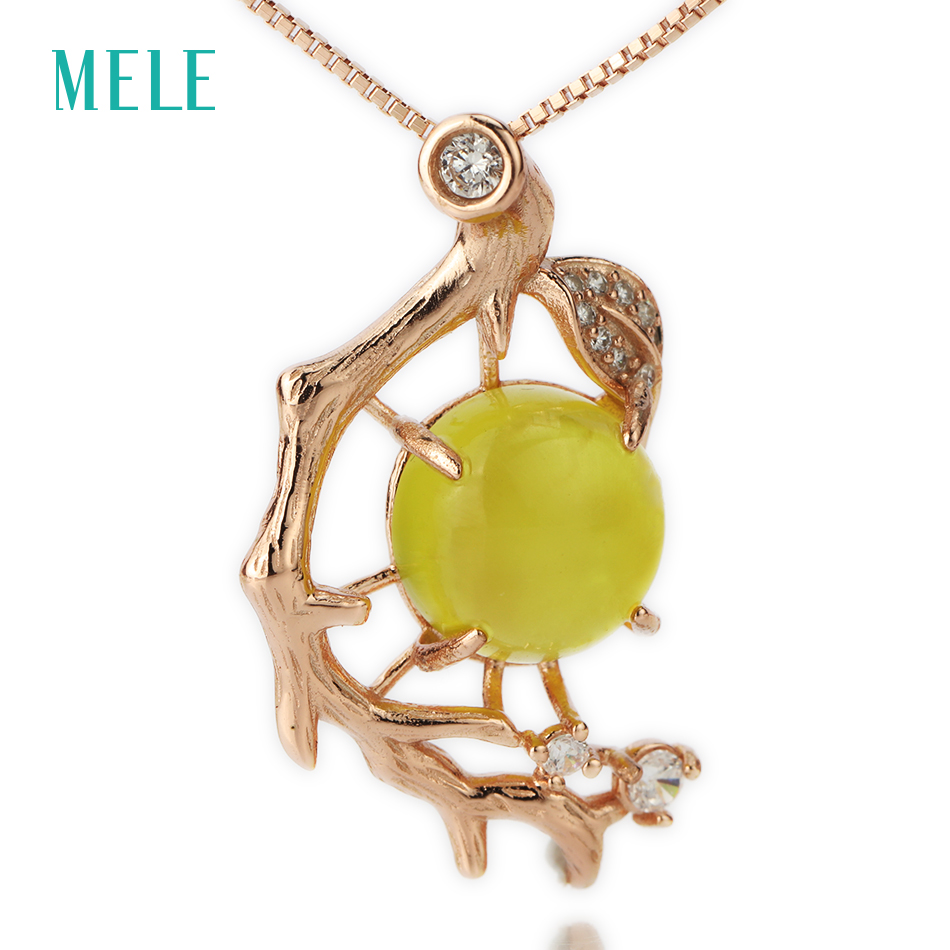 MELE Natural yellow prehnite silver 925 pendant for women 10mm 10mm round cut main stone high