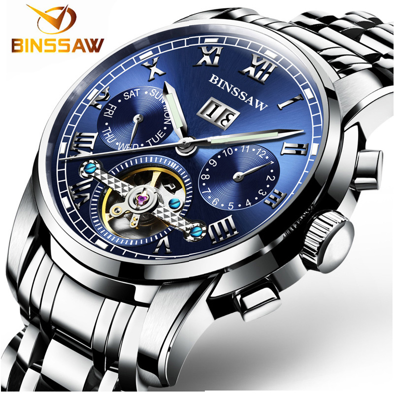 Binssaw Men stainless steel watches Mechanical Wristwatches Automatic Self-Wind Complete Calendar Water Resistant clock brand dibrera by paolo zanoli балетки