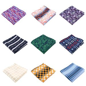 YISHLINE NWT メンズ 100% シルクポケット正方形格子縞の花ストライプ男ハンカチウェディングパーティーアクセサリー男性 Hankies