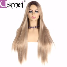 USMEI Long mixed Blonde straight wig for women synthetic cosplay wigs ombre brown root High Density/Temperature fiber fake hair