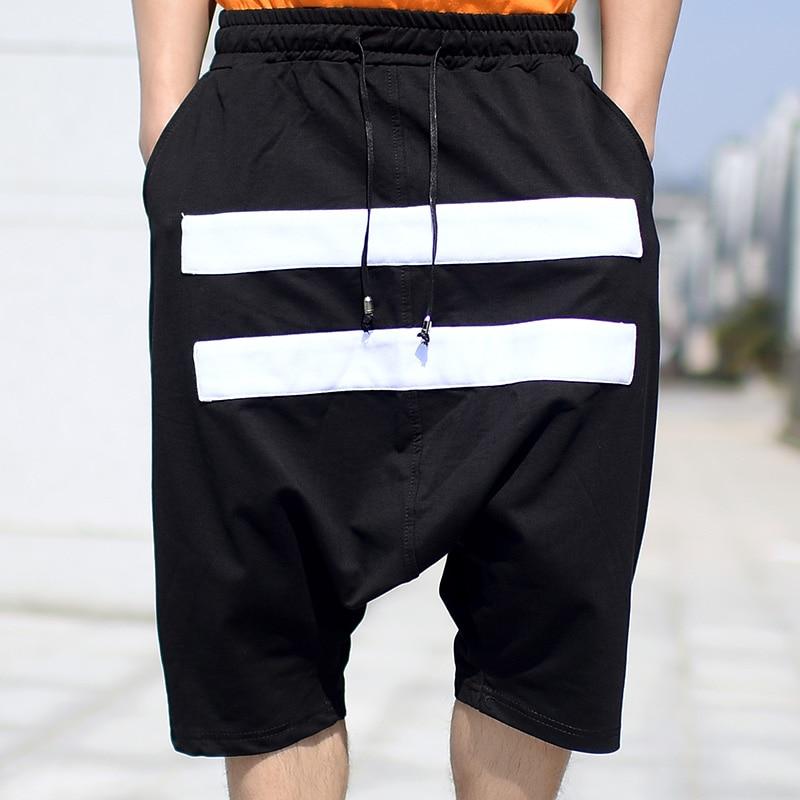 Summer Men's Black Cross-Pants Spliced White Striped Baggy Pants Men Fashion Streetwear Hip Hop Stretch Casual Short Pants Male