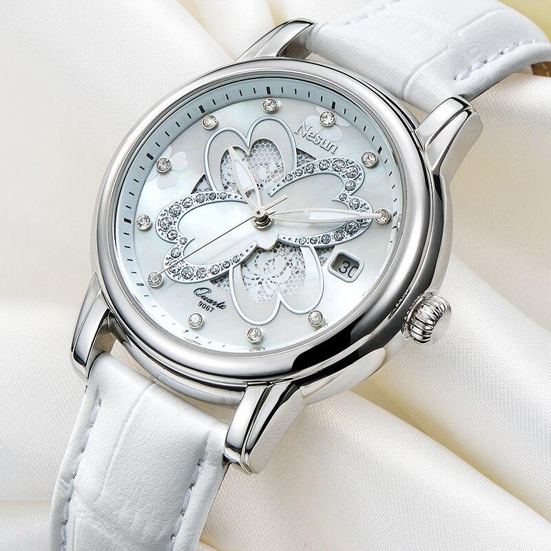Nesun Women s Watches Switzerland Luxury Brand Quartz Watch Women Sapphire Relogio Feminino Clock Diamond Wristwatches