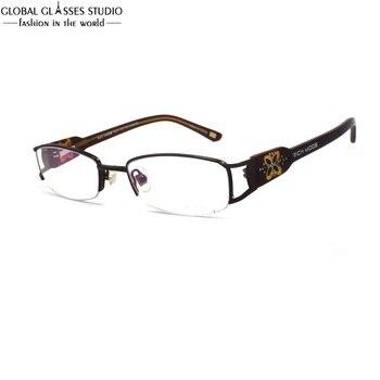 타원형 렌즈 하프 림 여성 럭셔리 금속 안경 프레임 hornless 와이드 템플 클로버 패턴 라인 석 장식 안경 RM00460-C2