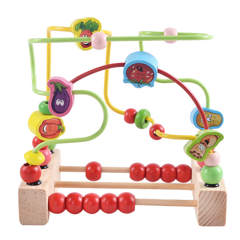 Wooden Kids Stringing Bead Roller Coaster Maze Puzzle Toy Early Educational Toys For Baby Children Vegetable Pattern Round Bead tree print round coaster
