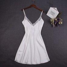 Сексуальная белая женская ночная рубашка, кружевная ночная рубашка, ночная рубашка, мини-ночная рубашка, юбка на подтяжках, пижама из вискозы без рукавов для женщин, M-XXL