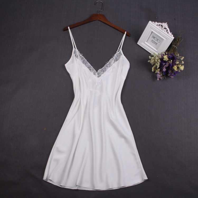 Sexy Weiß Frauen Nachtwäsche Spitze Nachthemd Nighty Mini Nachthemd Hosenträger Rock Nachtwäsche Rayon Sleeveless Für Weibliche M-XXL